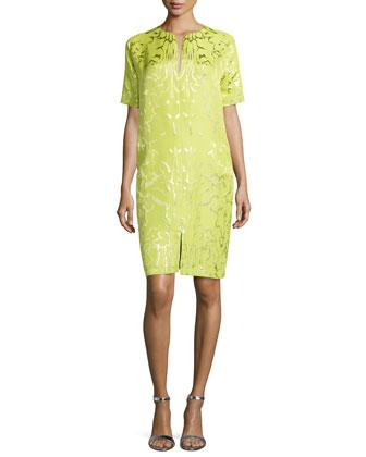 Shimmer Jacquard Split-Neck Dress