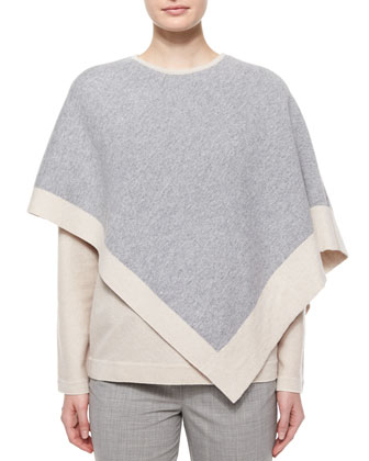 Two-Tone Cashmere Poncho, Long-Sleeve V-Neck Cashmere Top & Tapered ...