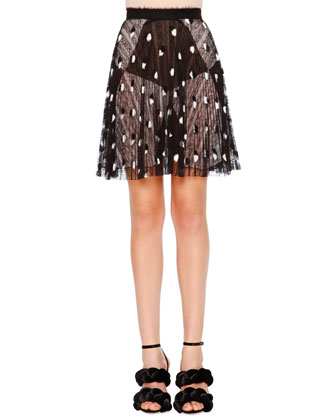 Pleated A-Line Lace Skirt, Black