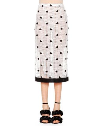 Allover Lace Midi Skirt, White