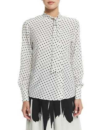 Long-Sleeve Dot-Print Blouse, Mist/Black