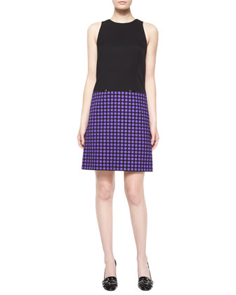 Sleeveless Dot-Skirt Sheath Dress, Black/Byzantine