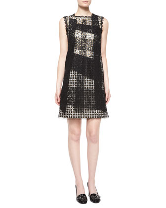Sleeveless Dot-Print Dress W/Lace Overlay, Black/White