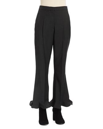 Long-Sleeve A-Line Wool Coat & Flared Flounce-Hem Ankle Pants