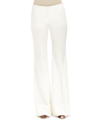 Low-Rise Boot-Cut Pants, Winter White