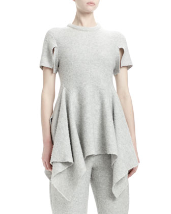 Short-Sleeve Peplum Top, Felt Gray