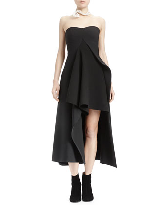 Strapless Split-Front Asymmetric Gown, Black