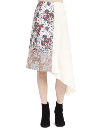 Sleeveless Brocade Patch Top & Midi Skirt