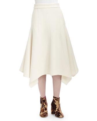 Long-Sleeve Turtleneck Sweater & Double-Faced Handkerchief-Hem Skirt