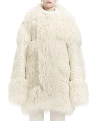 Faux-Fur Long-Sleeve Coat, Long-Sleeve Turtleneck Sweater & Low-Rise ...