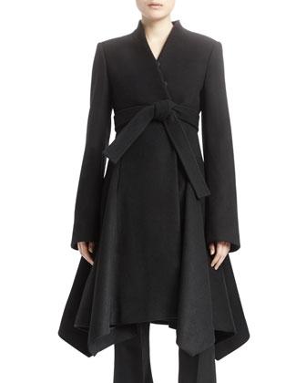 Long-Sleeve A-Line Wool Coat, Black