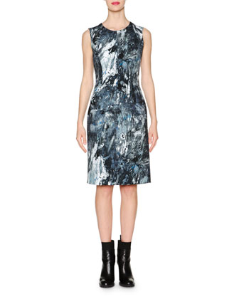 Pollock-Print Sleeveless Sheath Dress, Blue