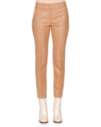 Square Dotted Jacquard Slim Ankle Pants