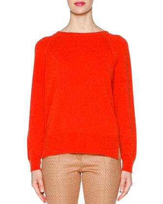 Needlework Colorblock Long Vest, Cashmere Round-Neck Sweater & Square ...