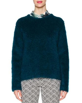 Mohair Knit Crewneck Sweater, Leaf-Print Button Blouse & Audrey ...