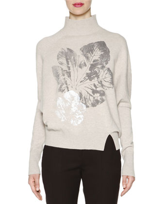 Cashmere-Blend Leaf-Print Dolman-Sleeve Sweater