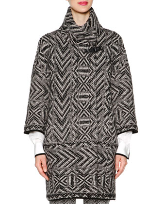 Chevron Cashmere-Blend Jacquard Knit Coat, Contrast-Trimmed Tuck-Pleated ...