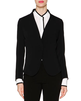 Shawl-Collar Cady Jacket, Contrast-Trimmed Tuck-Pleated Blouse & Monia ...