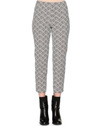 Audrey Weave-Pattern Jacquard Cropped Pants