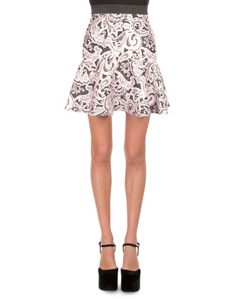 Lace-Front Combo Crop Top & Lace-Print Flounce Skirt