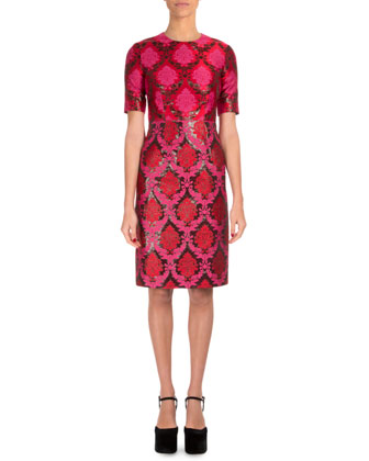 Short-Sleeve Damask-Print Sheath Dress, Dark Pink