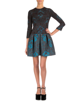 3/4-Sleeve Jewel-Neck Lace Dress, Tunis
