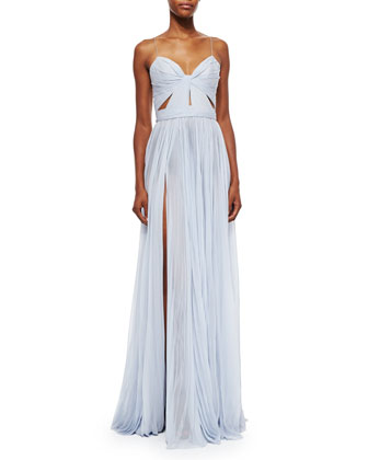 Sleeveless Cutout High-Slit Gown, Bleu Clair