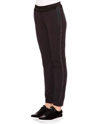 Mesh-Inset Slim-Fit Track Pants