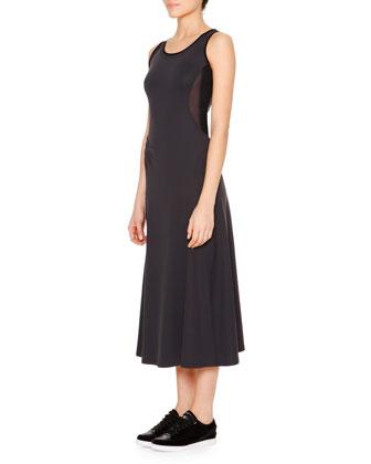 Mesh-Inset Jersey Tank Dress