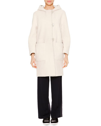Reversed Mid-Length Shearling Fur Coat
