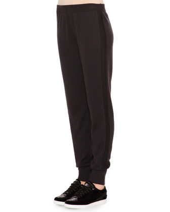 Cashmere-Blend Textured Side-Stripe Track Pants
