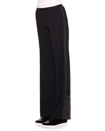 Satin-Trimmed Wide-Leg Track Pants
