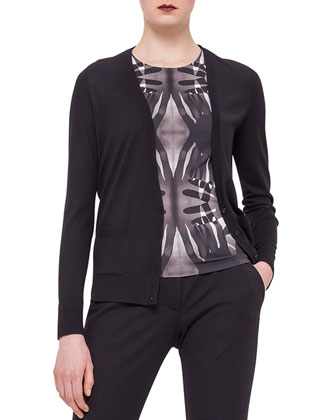 Paneled Print-Back Cardigan, Handprint Jersey Top & Jersey Tapered Ankle Pants