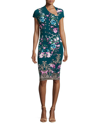 Asymmetric Floral-Print Sheath Dress