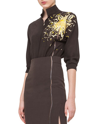 Calendula Embroidered Mousseline Blouse