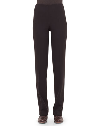 Carole Double-Faced Straight-Leg Pants