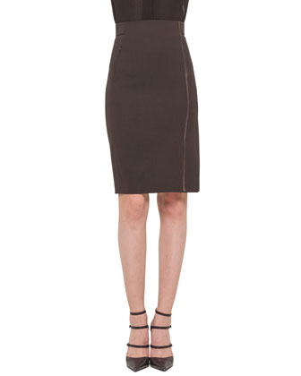 Stalk-Embroidered Double-Faced Pencil Skirt