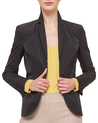 Tech-Satin Pleat-Back Jacket, Cashmere-Blend V-Neck Top & Melissa Stretch ...