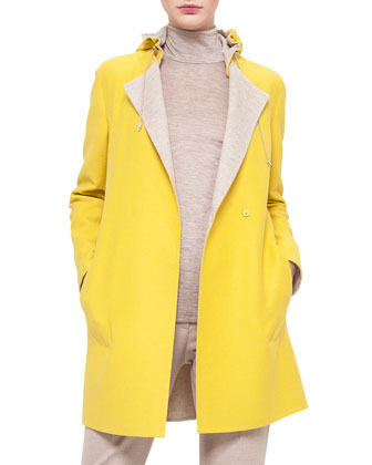 Bicolor Double-Faced Reversible Coat, Mock-Neck Zip-Front Top & Melissa ...