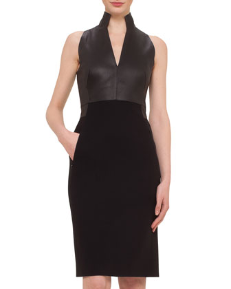 Leather Combo Sheath Dress