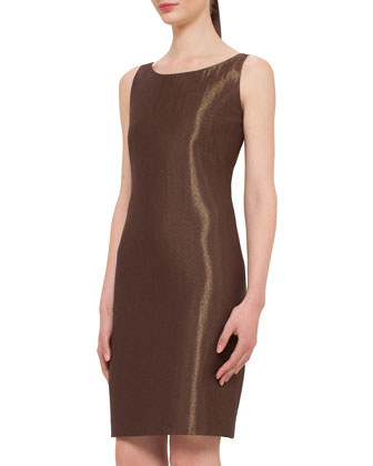 Metallic Trapezoid Lace Coat & Metallic Woven Sheath Dress