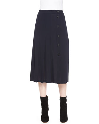Stretch-Cashmere Long-Sleeve Embellished Sweater & Button-Front Pleated Skirt