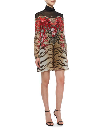 Long-Sleeve Tiger/Mixed-Print Shift Dress