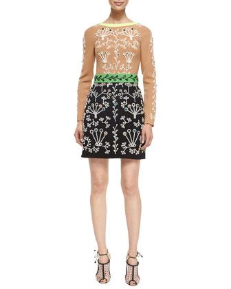 Long-Sleeve Bicolor Embellished Dress