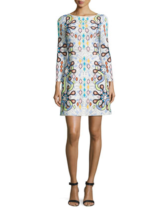 Long-Sleeve Geometric-Print Shift Dress