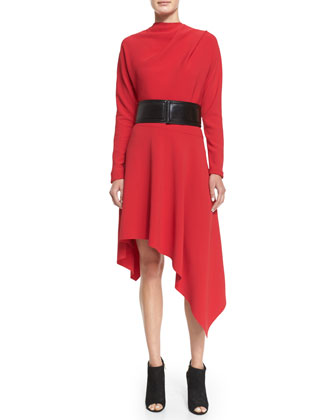 Asymmetric-Hem Cady Dress, Red