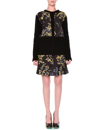 Floral Grid Print Button Cardigan & Floral-Print Pleated Mini Skirt
