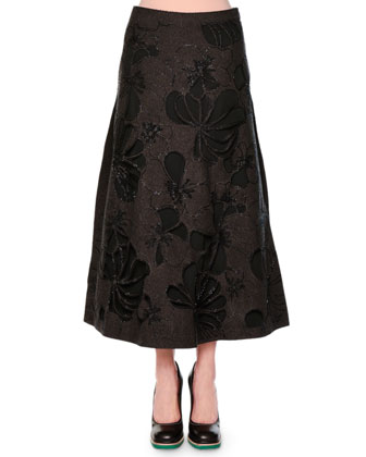 Tiered Gathered Bell-Sleeve Blouse, Beaded Laser-Cut Floral Felt Skirt, ...