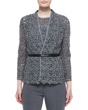 Floral Lace Open Jacket w/ Belt