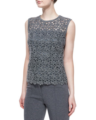 Three-Quarter Sleeve Birdseye Jacket, Paneled Floral Lace Tank Top & ...